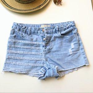 Zara Core Denim Collection Button Fly Shorts